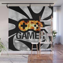 Gamer Flames BNW Wall Mural