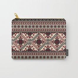 Ivory Folk Pattern Carry-All Pouch
