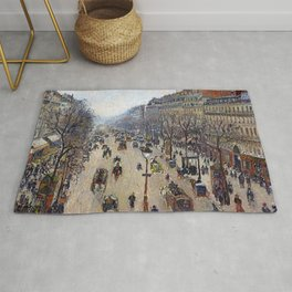 """Camille Pissarro """"Boulevard Montmartre, morning, cloudy weather"""" Rug"""