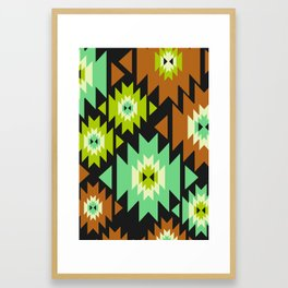 Ethnic shapes in green and brown Framed Art Print