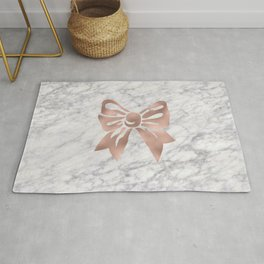 Rose gold marble bow Rug