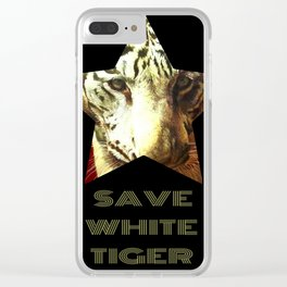 Save White Tiger, tiger print, white tiger wall decor, tiger gift idea Clear iPhone Case