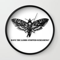 silence of the lambs Wall Clocks featuring The lambs by Nightwatcher