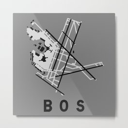 BOS Airport Diagram Metal Print