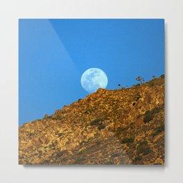 Full Moon Emerging As Sun Sets Over Mountain Metal Print