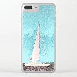 """Sailboat #5"" Art of the Sea by Murray Bolesta Clear iPhone Case"