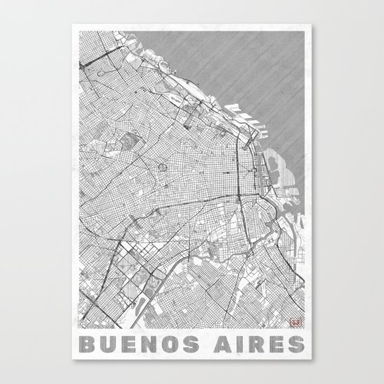 Buenos Aires Map Line Canvas Print