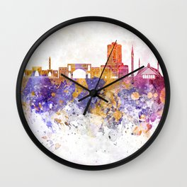Islamabad skyline in watercolor background Wall Clock