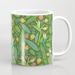 Strelitza with palm leaves and orange pomegranate on dark green background Coffee Mug
