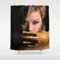 black and gold Shower Curtains featuring Black & Gold by Levi Price