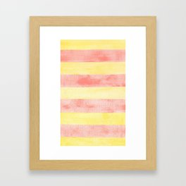 Pink and yellow stripes Framed Art Print
