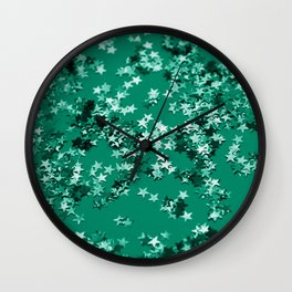 Emerald Glitter Stars #1 #shiny #decor #art #society6 Wall Clock