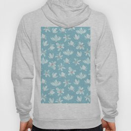 Elegant pastel blue white coral modern floral illustration Hoody