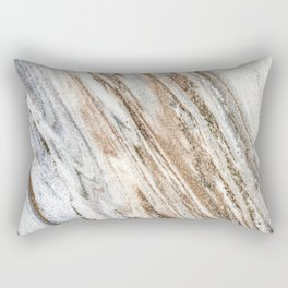 Marble Slab Texture // Gold Silver Black Gray White Stripes Luxury Rugged Rustic Rock Rectangular Pillow