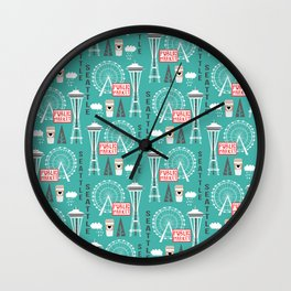 Seattle travel art cute decor for nursery kids room pattern girls or boys Wall Clock