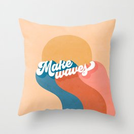Retro Rainbow Waves Throw Pillow