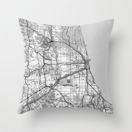 Chicago Map With Coordinates Throw Pillow