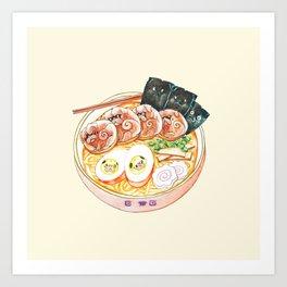 Ramen Pugs Watercolor Art Print