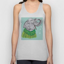 Merry Christmas New Year's card design Elephant head with a raised trunk in a knitted sweater Unisex Tank Top