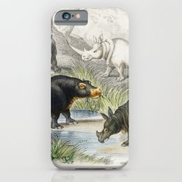 Hippopotamus Indian Rhinoceros Muchoco White Rhinoceros Two Horned African Rhinoceros and Malay Tapi iPhone Case