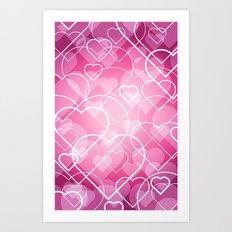 Hard line Heart Bokeh Art Print
