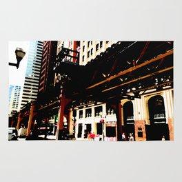 Chicago transit 'L' art print - industrial  urban photo - downtown Chicago, Illinois  Rug