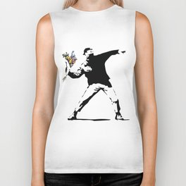 Banksy Flower Thrower Biker Tank
