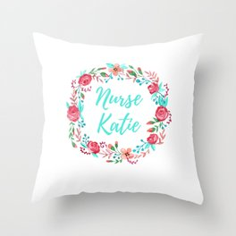 Nurse Katie - Floral Wreath - Watercolor Throw Pillow