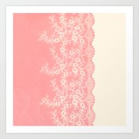 aelwen Art Prints featuring Lace #CoralPink by Armine Nersisian