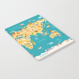 Animal map for kid. World vector poster for children, cute illustrated Notebook