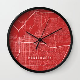 Montgomery Map, USA - Red Wall Clock