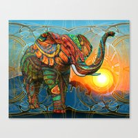 psychedelic Canvas Prints featuring Elephant's Dream by Waelad Akadan