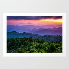 Sundown from Cowee Mountains Landscape Art Print