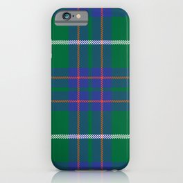Classic Christmas Blue and Green Plaid Tartan Pattern iPhone Case