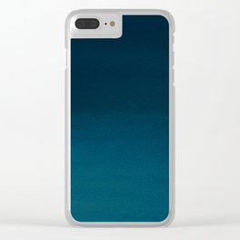 Navy blue teal hand painted watercolor paint ombre Clear iPhone Case