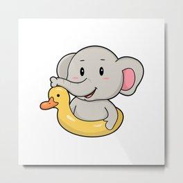 Elephant at Swimming with Swim ring Metal Print
