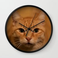 levi Wall Clocks featuring Levi the Cat by Sean Foreman