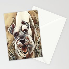 The White Miniature Schnauzer Stationery Cards
