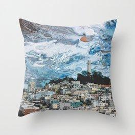 Starry Coit Tower Throw Pillow