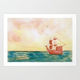 """Pirate Ship Sunrise landscape"" watercolor painting Art Print"