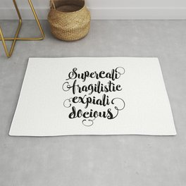 Supercalifragilisticexpialidocious black and white monochrome typography design home decor wall Rug