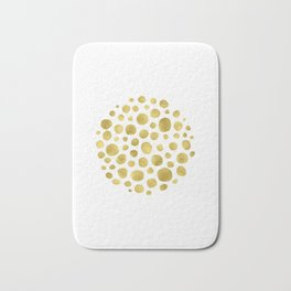 Gold Foil Abstract Dots Wall art Print, Contemporary Art Print Bath Mat