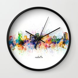 nashville skyline artistic Wall Clock