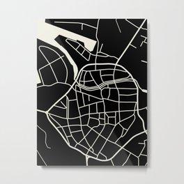 Wismar Karte Dark Metal Print