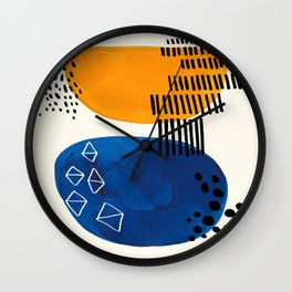 Fun Colorful Abstract Mid Century Minimalist Yellow Navy Blue Whiscial Patterns Organic Shapes Wall Clock