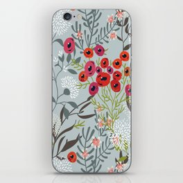 Red Poppies with Blue iPhone Skin