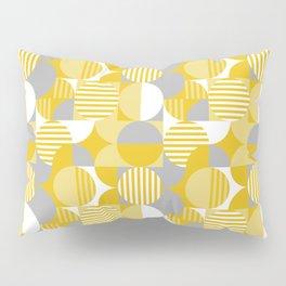 Modern Geometric Pattern, Yellow, Gray, White Pillow Sham