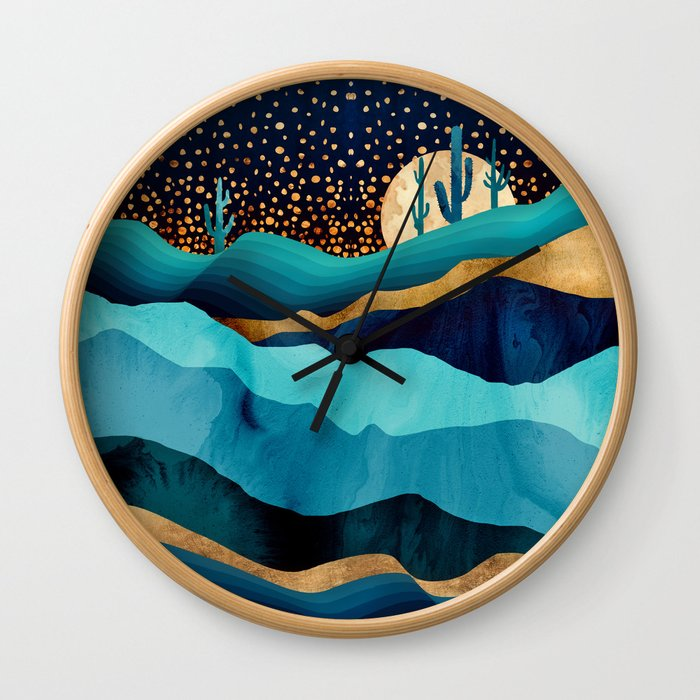 Indigo Desert Night Wall Clock