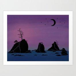 Moon over Three Graces Art Print