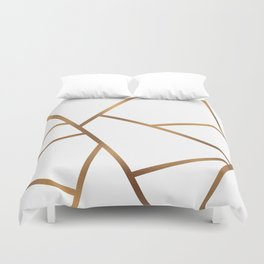 White and Gold Fragments - Geometric Design Duvet Cover